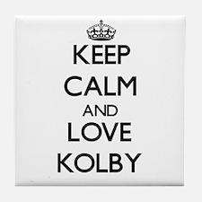 Keep Calm and Love Kolby Tile Coaster