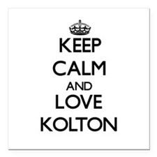 "Keep Calm and Love Kolton Square Car Magnet 3"" x 3"