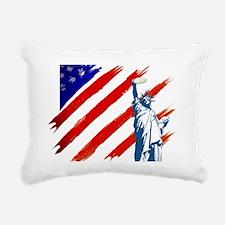 statue of liberty w flag Rectangular Canvas Pillow