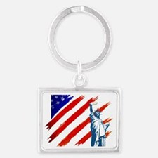 statue of liberty w flag new Landscape Keychain