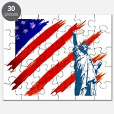 statue of liberty w flag new Puzzle