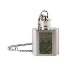 GREEN FLORAL SCROLL-1a Flask Necklace