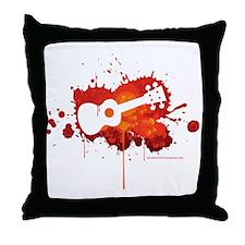 Ukulele Splash Red Throw Pillow