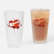 Ukulele Splash Red Drinking Glass