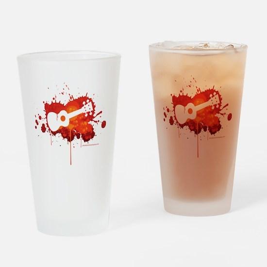 Ukulele Splash Red Drinking Glass