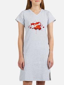 Ukulele Splash Red Women's Nightshirt