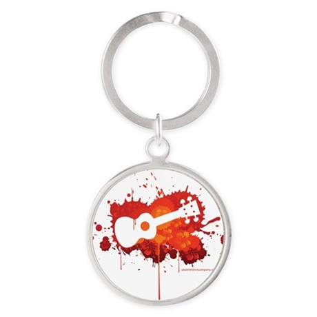 Ukulele Splash Red Round Keychain