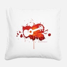 Ukulele Splash Red Square Canvas Pillow