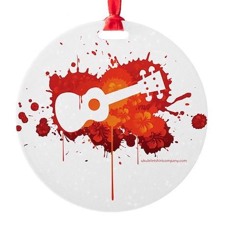 Ukulele Splash Red Round Ornament