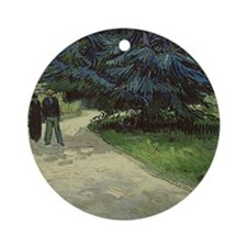 Couple in the Park, Arles, 1888 by  Round Ornament