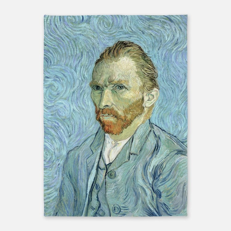 Self portrait, 1889 by Vincent Van  5'x7'Area Rug