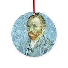 Self portrait, 1889 by Vincent Van  Round Ornament