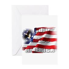 Patriotic God Bless America Soaring Eagle Greeting