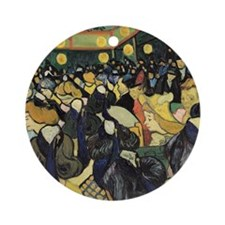 Dance Hall at Arles, 1888 by Vincen Round Ornament