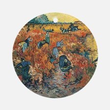 Red Vineyards at Arles, 1888 by Vin Round Ornament