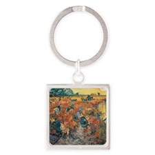 Red Vineyards at Arles, 1888 by Vi Square Keychain