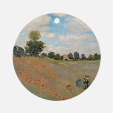 Wild Poppies, near Argenteuil by Cl Round Ornament