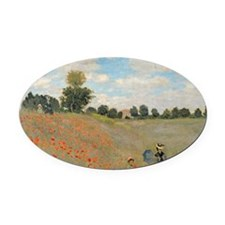 Wild Poppies, near Argenteuil by C Oval Car Magnet