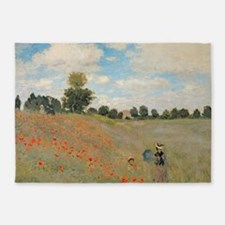 Wild Poppies, near Argenteuil by Cl 5'x7'Area Rug