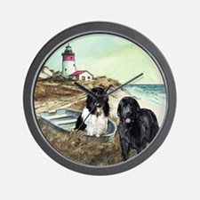 two newfs and boat for blanket Wall Clock