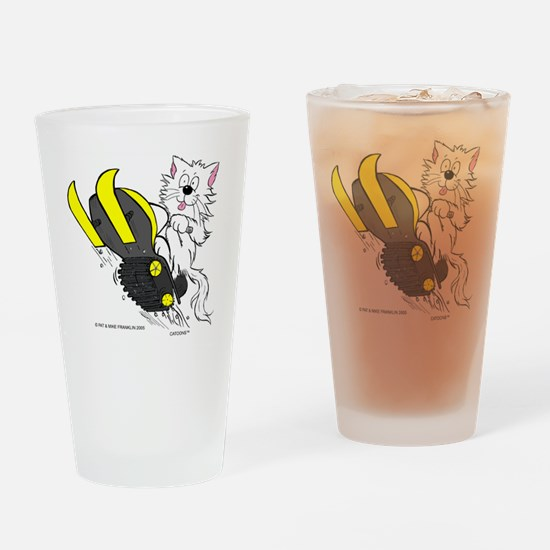Snowmobile Cat in Color Yellow Drinking Glass