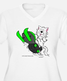 Snowmobile Cat in T-Shirt