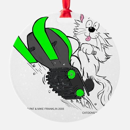 Snowmobile Cat in Color Green Ornament