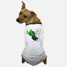 Snowmobile Cat in Color Green Dog T-Shirt