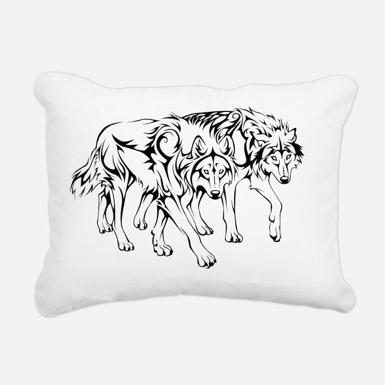 wolfpack_tribal_final Rectangular Canvas Pillow