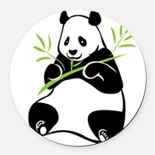 Panda with Bamboo Round Car Magnet