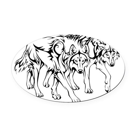 wolfpack_tribal_final Oval Car Magnet