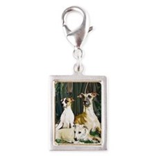 whippet family grouping blan Silver Portrait Charm