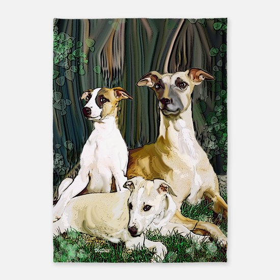 whippet family grouping blanket 5'x7'Area Rug