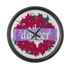 dancer wreath red copy Large Wall Clock