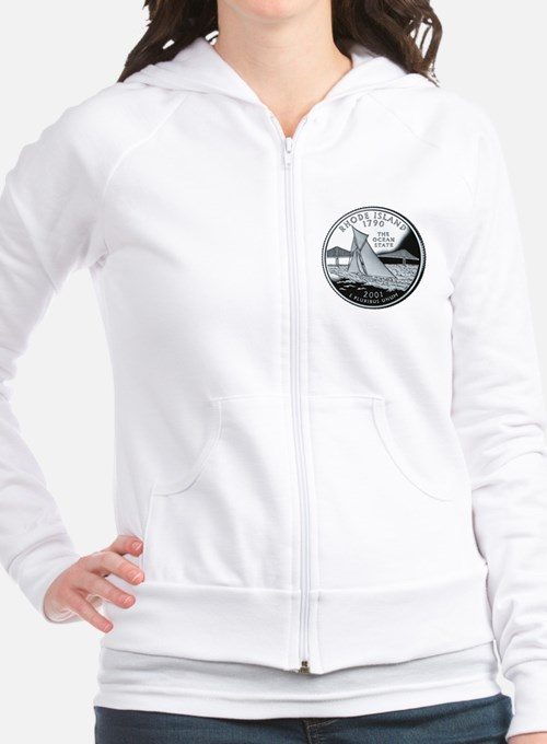 quarter_rhode_island_600 Fitted Hoodie