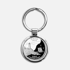 quarter_maine_600 Round Keychain