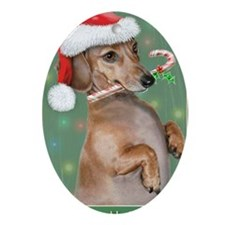 Dachshund Lillys Christmes Oval Ornament