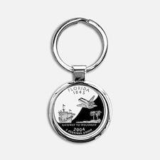 quarter_florida_600 Round Keychain