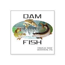 "DAMFISH Square Sticker 3"" x 3"""