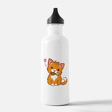 Orange Kitty Love Water Bottle