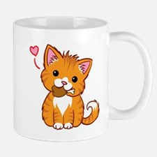 Orange Kitty Love Mugs