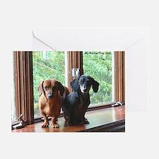 dasie and harley window seat Greeting Card