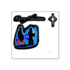"mary merry chrstmas Square Sticker 3"" x 3"""