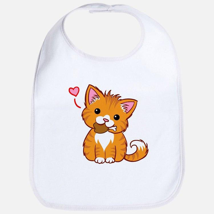 Orange Kitty Love Bib