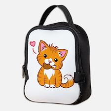 Orange Kitty Love Neoprene Lunch Bag