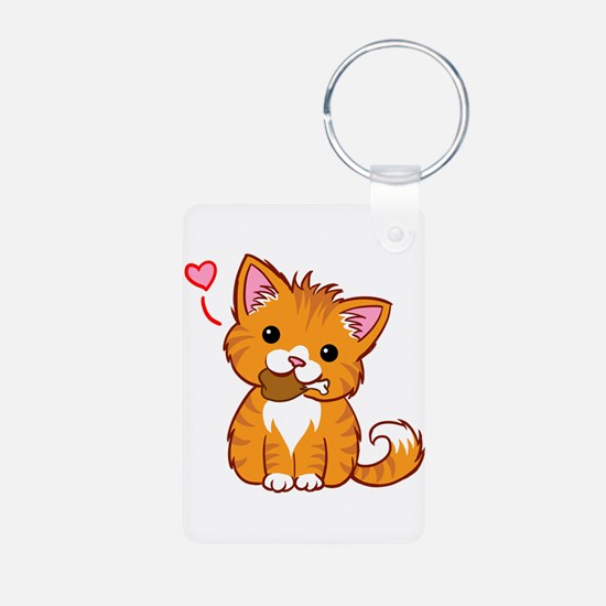 Orange Kitty Love Keychains