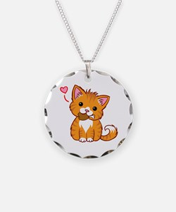 Orange Kitty Love Necklace