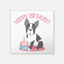 Happy Birthday Boston Terrier Clear Sticker