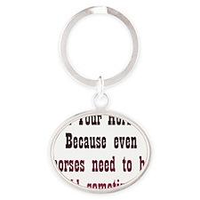 holdyourhorses_iphone1 Oval Keychain