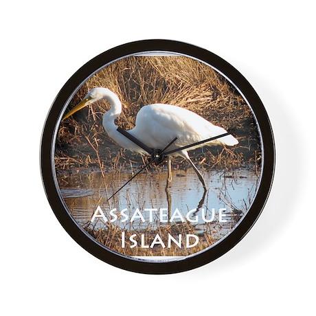 Assateague Island Egret Wall Clock